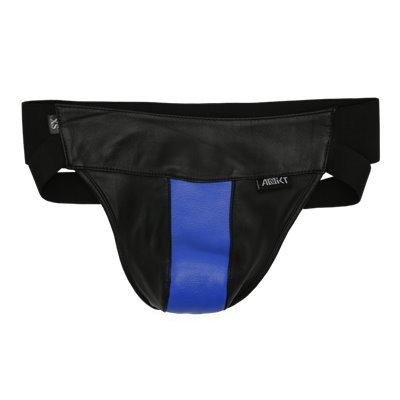 Addikt Leather Jockstrap: Black & Blue