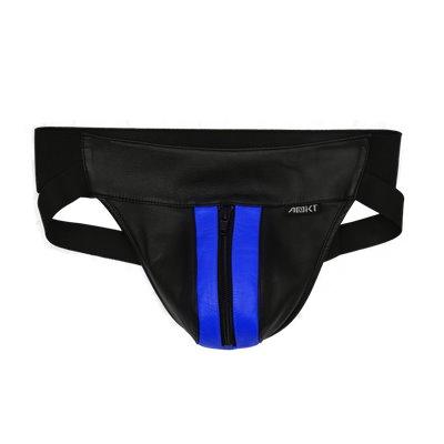 Addikt Leather Jockstrap Zip: Black & Blue