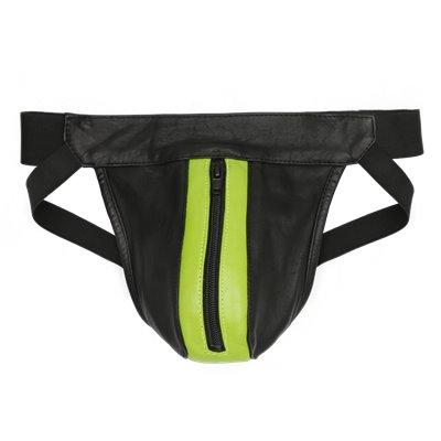 Addikt Leather Jockstrap Zip: Black & Green