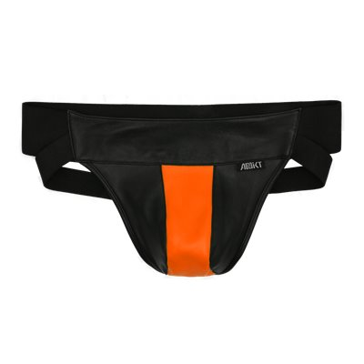 Addikt Leather Jockstrap: Black & Orange